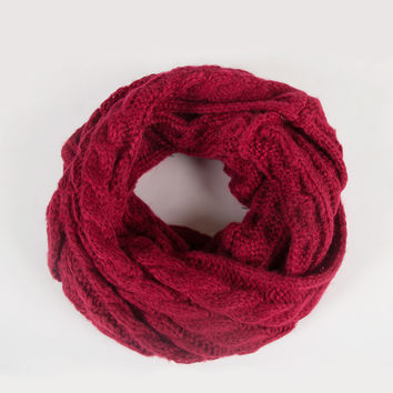 Soft Twist Knit Infinity Scarf - Dark Red - Dark Red / One
