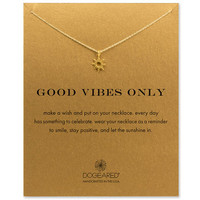 good vibes only radiant sun necklace, gold dipped