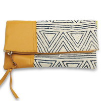 Navy Triangles Fold Over Clutch by Joyn