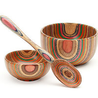 The Rainbow Wood Spoon &amp; Bowls at the Bibelot Shops