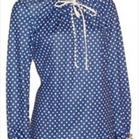 Vintage Blue 70s Top with Polka Dots