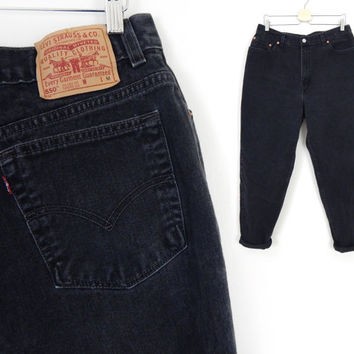 """Vtg 90s Faded Black Levi's 550 Plus Size High Waist Jeans - Women's Relaxed Fit Tapered Leg Vintage Denim Jeans - Size 18 - 36"""" Waist"""