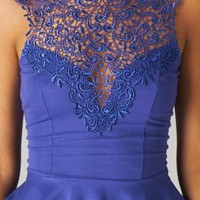 Purple Sleeveless Peplum Top with High Lace Neckline