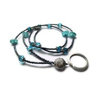 Teal Blue Crystals Firepolished Beads Lanyard