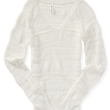 Aeropostale  Solid Open Knit V-Neck Sweater