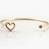 Gold Hollow Heart Bracelet - Sheinside.com