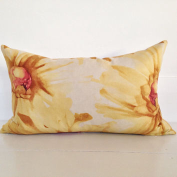 FREE SHIPPING Australia wide - Golden yellow daisy designer cushion cover - floral mustard lumbar cushion