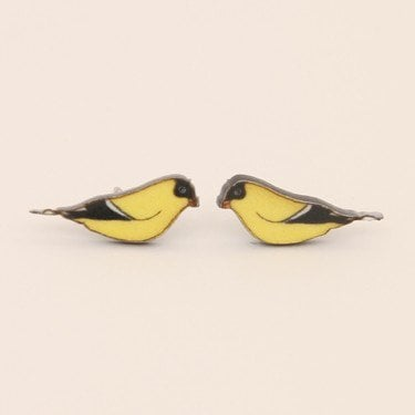 JAN 4c: Bird Studs - Yellow Finch - earrings & studs - jewellery