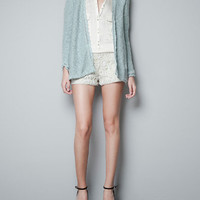 CARDIGAN WITH LACE INSERTS - Knitwear - Woman - ZARA United States