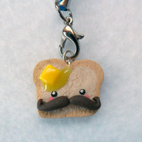 Kawaii Mustache Toast With Butter Charm and Cell Phone Strap