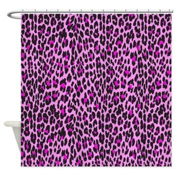 Pink Leopard Shower Curtain> Animal Print, Spotted Leopard> Strawberry and Hearts