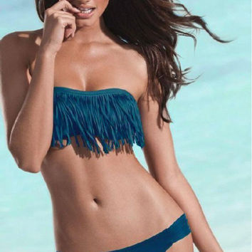 Dark MEDIUM Blue Fringe Bikini