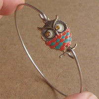 Rhinestone Owl  Bangle Bracelet, Simple Everyday Jewelry, Elegant gift, Bridesmaid Gift, Bridal Wedding Jewelry