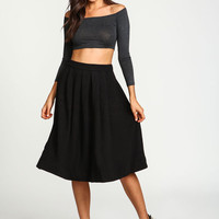 Plush Knit Pleated Midi Flare Skirt