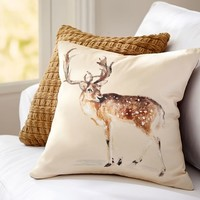 Painted Deer Pillow Cover