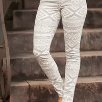 Extraordinary Tribal Jeggings Taupe CLEARANCE - Modern Vintage Boutique