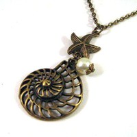 Antiqued Bronze Shell And Starfish .. on Luulla
