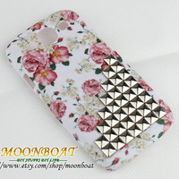 Beautiful  Flower Hard Case Cover With Silvery Stud Pyramid For Samsung Galaxy S3 i9300 MB672