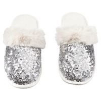 Sparkle Sequin Slippers, Silver