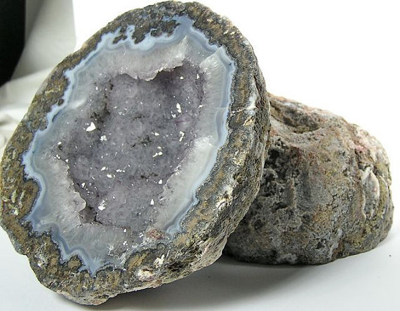 Large Geode Amethystine Center Natural Blue Agate Rind Cut and Polished