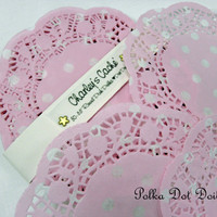 "5"" Polka Dot Pink and White Doilies French Lace Paper Round doily Qty 30"