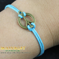 Antique Brass Peace Symbol  Rope Bracelet MB673