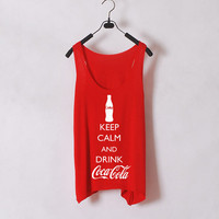 Keep Calm and Drink Coca Cola- Women Tank Top - Orange - Sides Straight