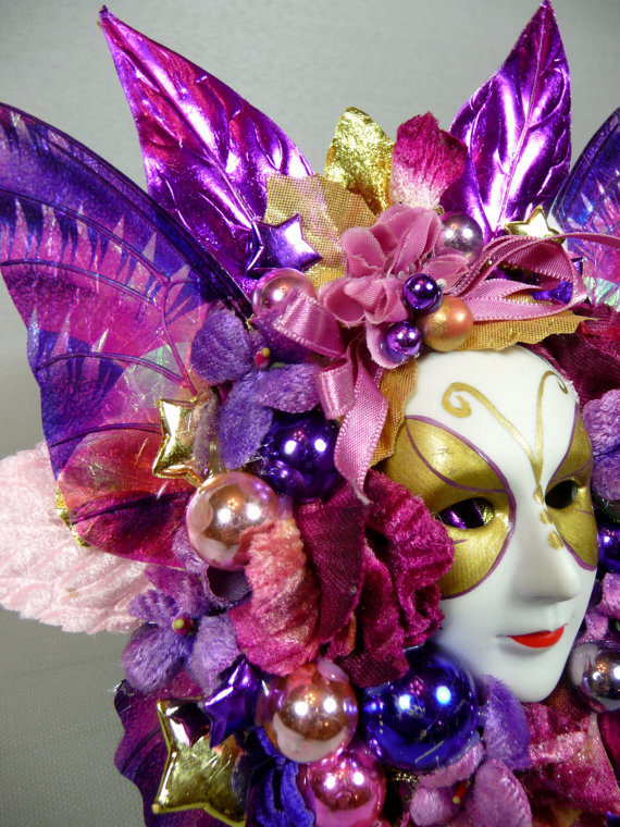 Vintage Mardi Gras Decoration Pink Purple From Meaicp On Etsy