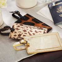 PONY HAIR & GOLD LEATHER LUGGAGE TAG