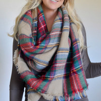 In Stock Plaid blanket scarf oversized multi color camel -IN STOCK!