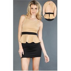 D10630OA Two Tone Peplum Dress TAUPE