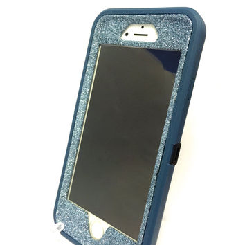 iPhone 6 (4.7 inch) OtterBox Defender Series Case Glitter Cute Sparkly Bling Defender Series Custom Case  Deep water blue / blue topaz
