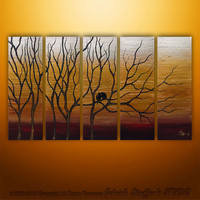 Abstract Modern Landscape Trees Birds Original Art by Gabriela 50x30 Large
