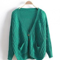 Green V Neck Bat Loose Sweater$40.00
