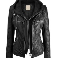 Lock and Love Women's Removable Hoodie Motorcyle Jacket S BLACK