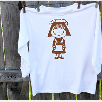 Pilgrim Girl Shirt, Kids Thanksgiving Shirt, Toddler