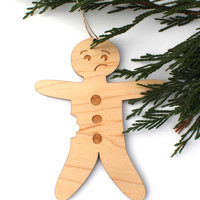 Gingerbread Man Christmas Ornament - Laser Cut Wooden Christmas Holiday Ornament