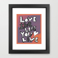Love the life you live bob marley quote inspirational color print