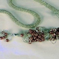 Silver Glass Bead Kumihimo Braid Mauve Glass Pearls and Wire Accents
