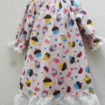 Toddler Size 2 Flannel Nightgown, Cupcake Print and Eyelet Ruffle