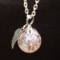 Pink Wing Crackle Glass Marble Necklace
