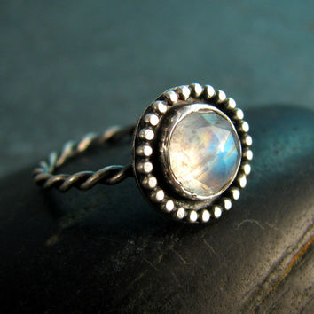 Rose Cut Moonstone Ring in Sterling Silver with Granulated Setting - Size 6 - June Birthstone - Gemstone Statement Ring