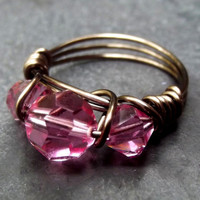Pink Crystal Ring:  Bronze Wire Wrapped Ring, Sweetheart Pink, Rose Pink, Size 7.5, Custom Size