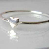 50 o/o off - Tiny heart - Sterling Silver ring - shiny heart stacking ring - All sizes available - by Twilight Eyes Studio