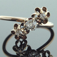 Rose Gold Ring - Victorian Rose Gold and Diamond Ring