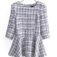 Three Quarter Sleeve Tweed Coat White$43.00