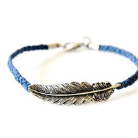 Feather Braided Bracelet - Blue