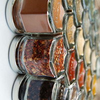 """DIY HEX 24: Magnetic Spice Rack for Fridge (24 empty 1.5 oz jars, clear 1"""" labels and choice of silver, gold or black lids). Spice Storage."""