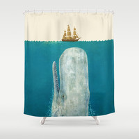 The Whale Shower Curtain by Terry Fan