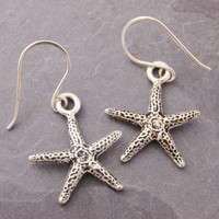 Starfish Earrings, silver starfish, beach jewelry, nature jewelry, stocking stuffers, holiday sale, black friday sale, cyber monday sale,